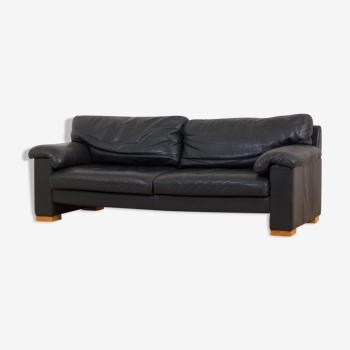 Canapé 2,5 places en cuir noir du milieu du siècle