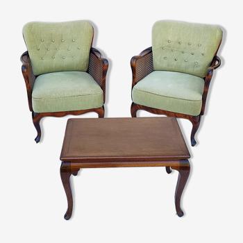 Paire de fauteuils Chippendale et table basse