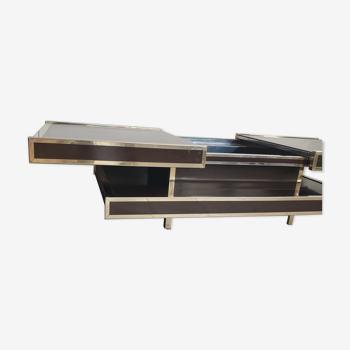 Table basse bar vintage année 70 double plateau pour Roche Bobois