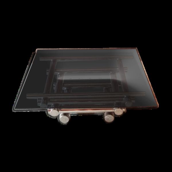 Selency Table basse italienne moderne en verre et chrome du milieu du siècle, années 1970