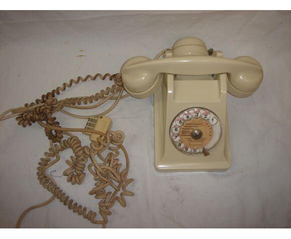 Téléphone en bakélite ivoire blanc de 1950