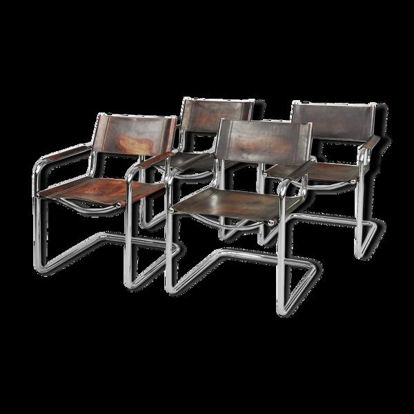4 chaises MG5 en acier tubulaire et cuir patiné italien par Matteo Grassi