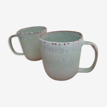 Set de 2 mugs en céramique verte