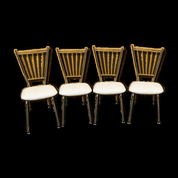 Lot de 4 chaises de cuisine en tube chrome