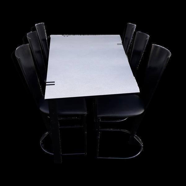 Table à manger avec 6 chaises des années 1980
