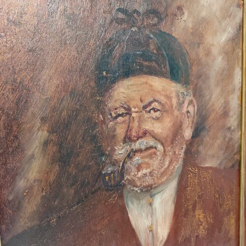 Tableau avec son cadre l'homme au chapeau et a la  pipe
