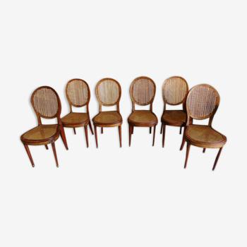Serie de 6 chaises style Louis XVI cannées