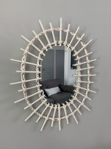 Miroir rotin blanc 50x40cm