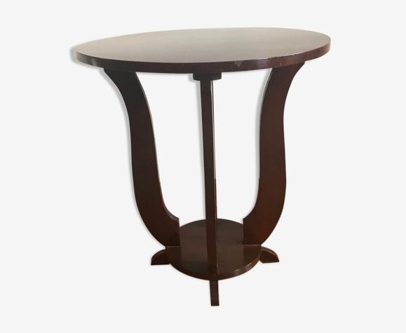 Guéridon Art-Deco acajou hauteur 60 cm - diamètre 55 cm