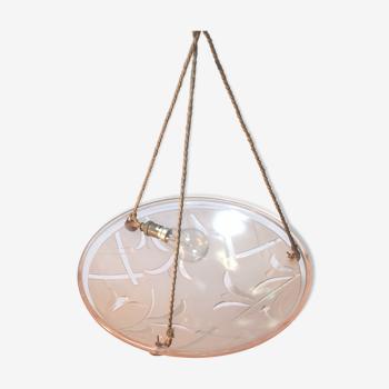 Ancienne suspension vasque Art Déco en verre rose de la Maison Degué