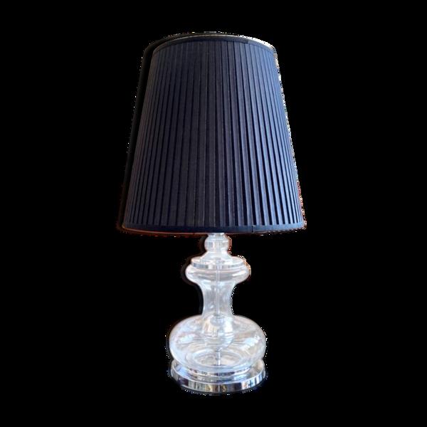 Lampe de table en verre, métal chromé et coton plissé