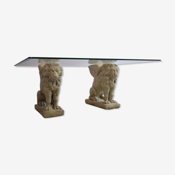 Table basse de pilier de pierre de lion