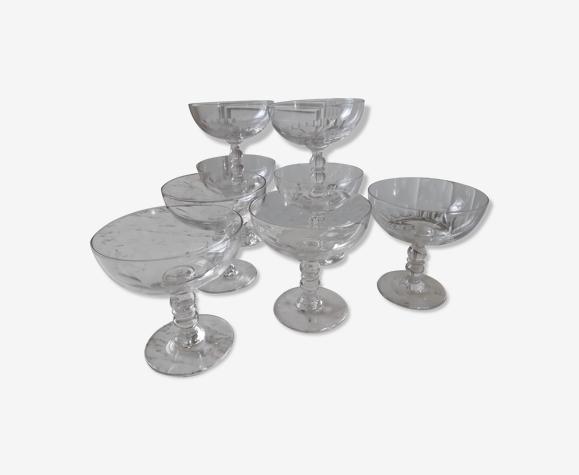 Lot de 8 coupes à champagne en cristal années 30