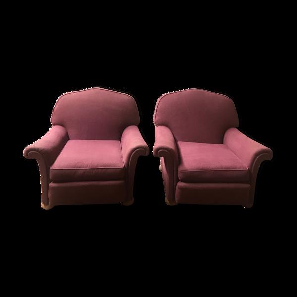 Paire de fauteuils en lin épais