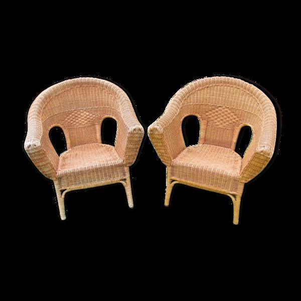 Paire de fauteuils rotin et osier