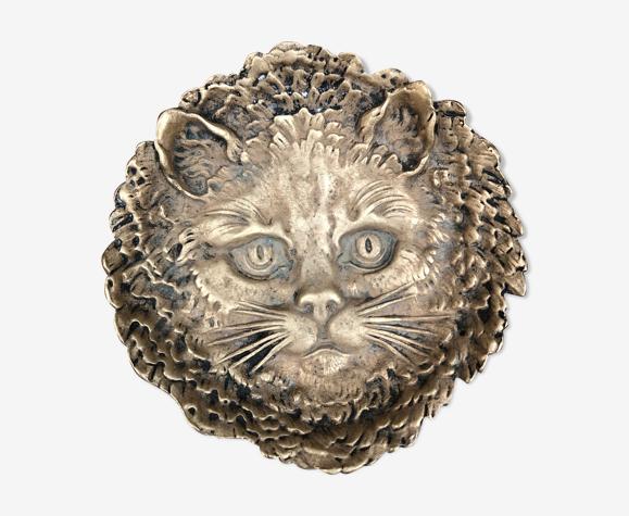 Bronze cat head trinket bowl