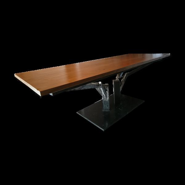 Selency Table unique Invictus chêne et acier