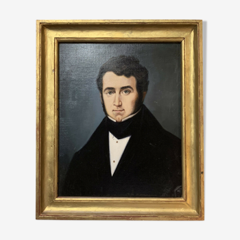 École Française vers 1880  huile sur toile figurant un personnage notable historique (G)  joli cadre