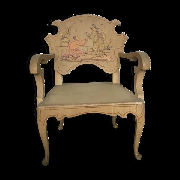 Selency Chaise où trône en bois laque de chine Vietnam vintage,peinture signée