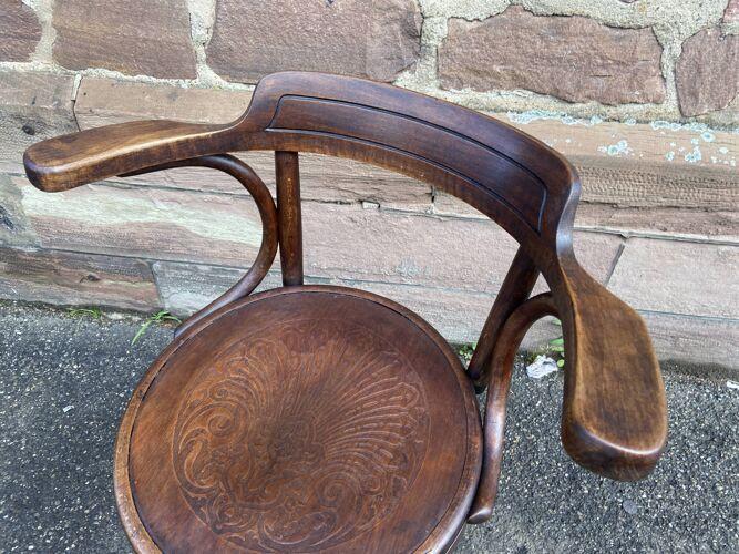 Fauteuil bureau bois courbé Fischel tournant 1920