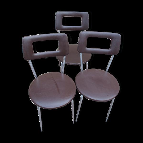 Lot de 3 chaise design année 60/70