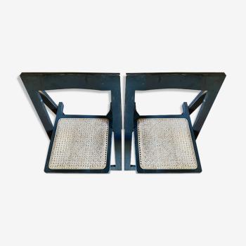 2 chaises pliantes en hêtre massif