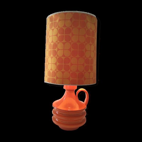 Lampe orange année 1970 pied en céramique vintage en état de fonctionnement
