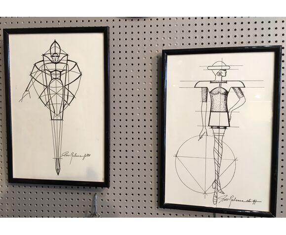 Illustration de mode Paco Rabanne époque début des années 90 .
