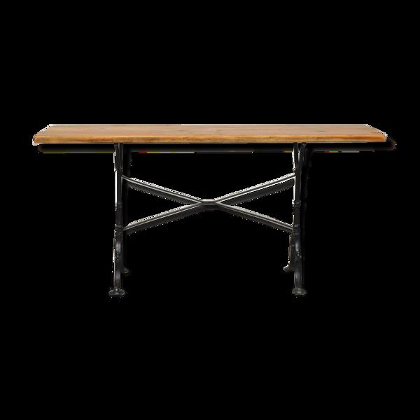 Selency Table d'appoint esprit atelier en bois et pieds fonte