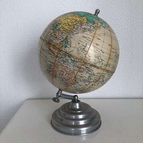 Globe vintage 1950 terrestre Girard Barrère crème - 28 cm