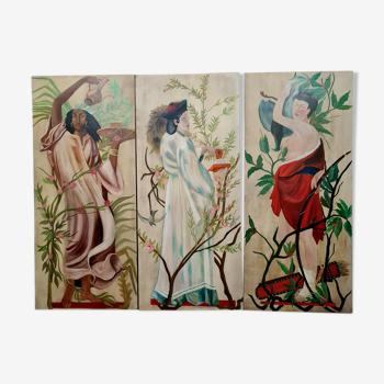 Décors de théâtre huile sur toile figurant une femme orientaliste
