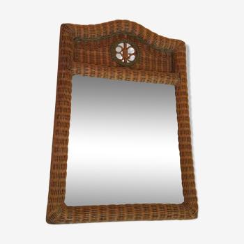 Miroir vintage rotin tressé 106x70 cm