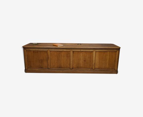 Grand Comptoir - Banque de Magasin en Chêne 12 Tiroirs 3 ml Long meuble métier