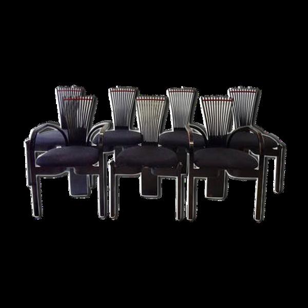 Selency Lot de 6 chaises et 2 fauteuils Totem de Nielsen Trostein
