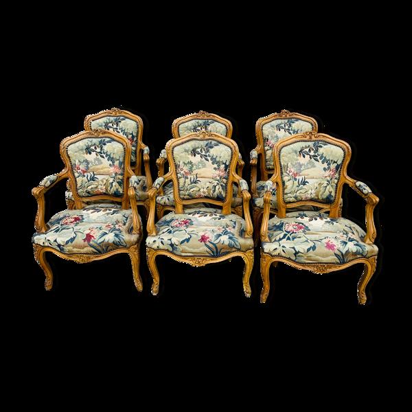 Lot de 6 fauteuils cabriolet Louis XV d'époque XIX éme