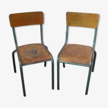2 chaises d'école Mullca