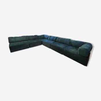 Canapé modulable vintage en daim