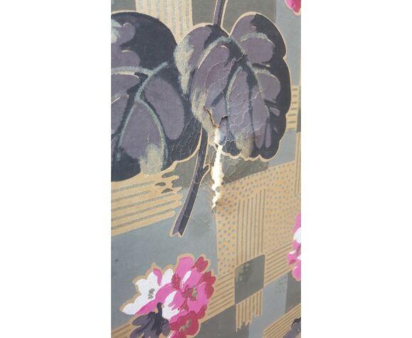 Ancien paravent toile peint motif floral 4 feuilles