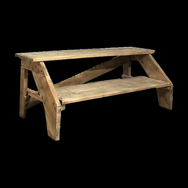 Ancien marche pied d'atelier en bois