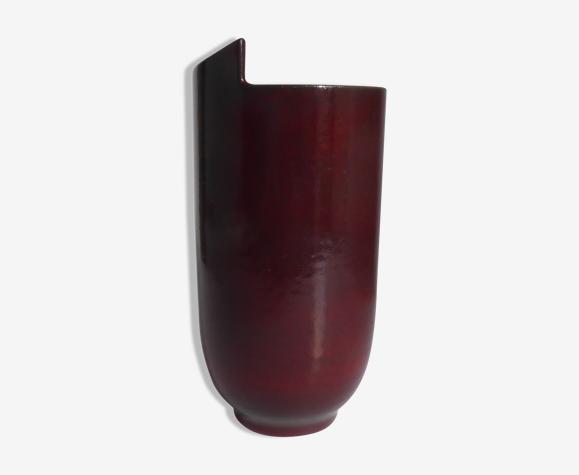 Vase 1950 en grès à col découpé