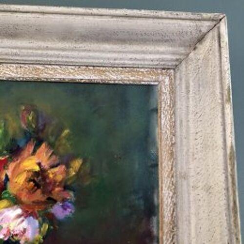 """Tableau nature morte """"Bouquet et vase boule vert"""""""