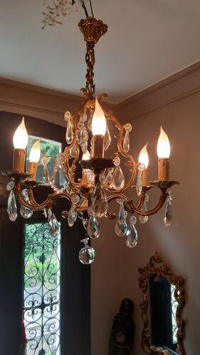 Lustre bronze et cristal 6 feux