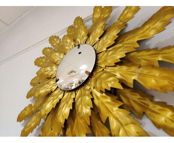 Miroir soleil en métal doré vintage avec lumière des années 60