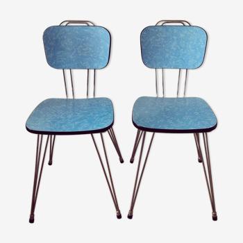 2 chairs in blue fomica feet eiffel