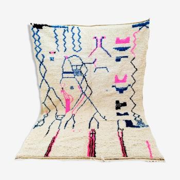 Tapis pure laine style berbère rose 282 x 197 cm