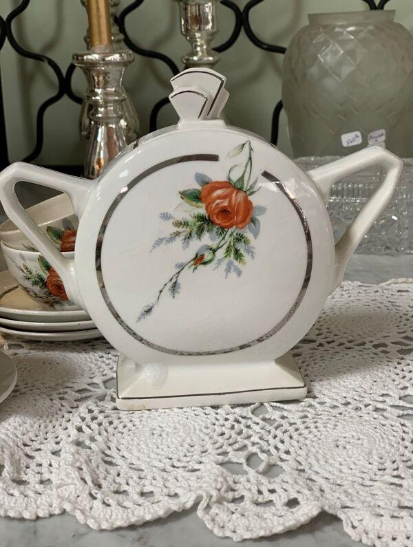 Service à thé café ancien en faïence, HBCM Daisy -Théière, 7 tasses/sous-tasses, sucrier