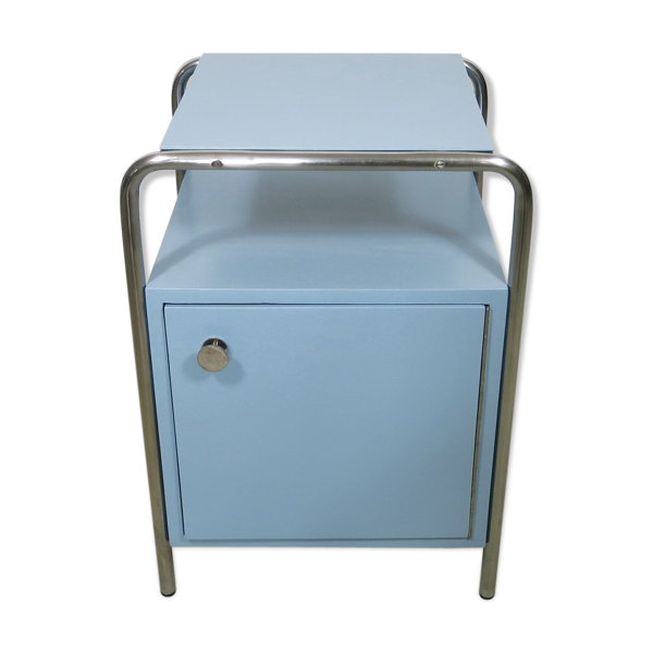 Selency Table de nuit Bauhaus en bleu clair