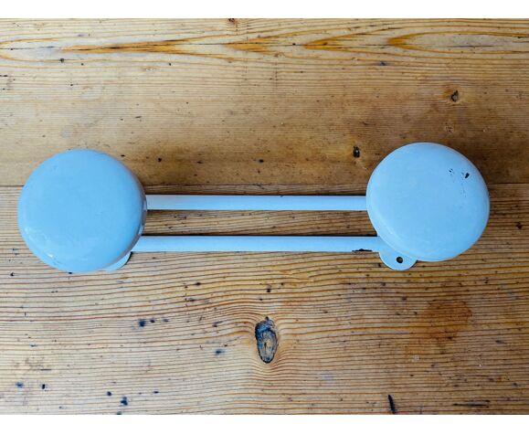 Metal wall coat rack 2 white hooks 60s.