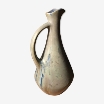 Pitcher in ceramic flame bluish gray signed GP