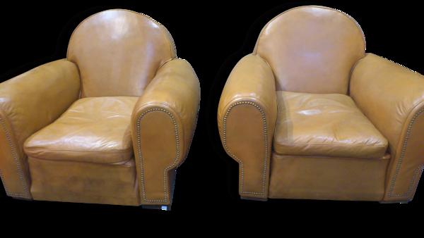 Paire de fauteuils cubs art déco en cuir